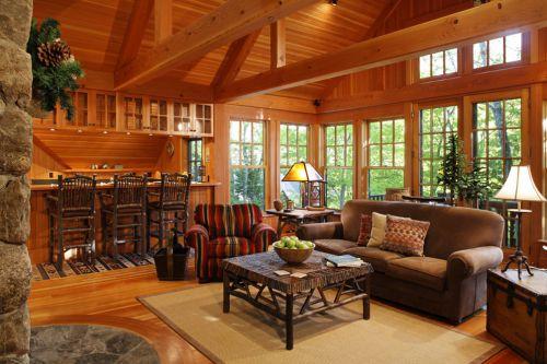 混搭风格别墅原木色客厅沙发效果图