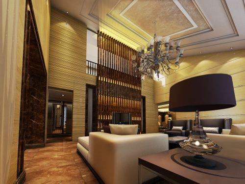 混搭风格别墅客厅背景墙装修效果图欣赏