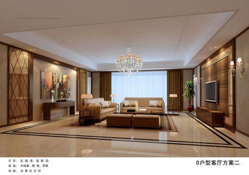 混搭风格四居室客厅影视墙装修效果图欣赏