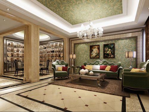 混搭风格别墅客厅隔断装修效果图欣赏