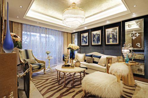 混搭风格六居室客厅背景墙装修效果图