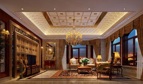 混搭风格别墅客厅窗帘装修效果图大全