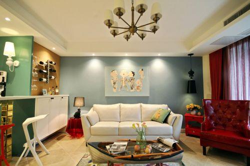 蓝色清新混搭风格客厅背景墙装修效果图