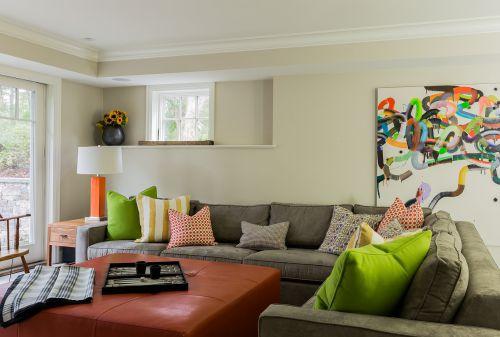 绿色清新混搭风格客厅沙发装修图片
