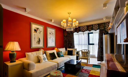 优雅混搭风格红色客厅背景墙装修图片