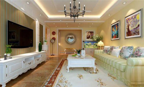 混搭风格二居室客厅壁纸装修效果图欣赏