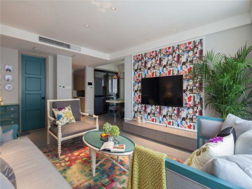 混搭风格三居室客厅电视柜装修效果图