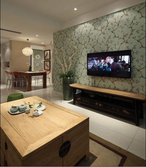 混搭风格三居室客厅背景墙装修图片