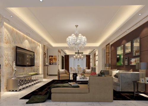 混搭风格三居室客厅壁纸装修图片