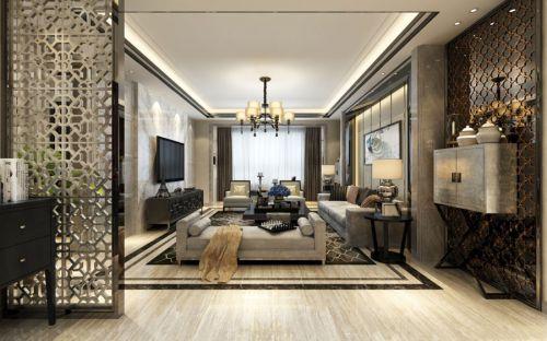 混搭风格三居室客厅隔断装修效果图