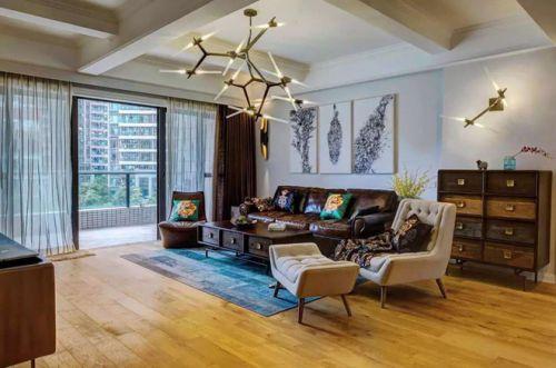 混搭风格三居室客厅组合柜装修效果图