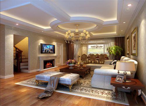混搭风格五居室客厅影视墙装修图片