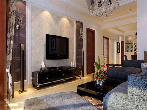 混搭风格二居室客厅吧台装修效果图大全