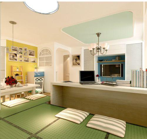 混搭风格一居室客厅背景墙装修效果图欣赏