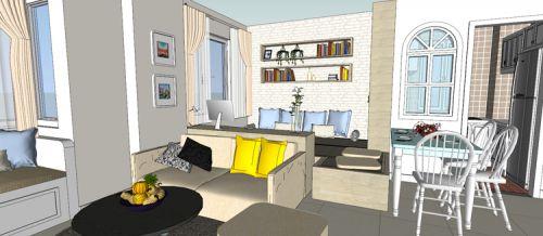 混搭风格一居室客厅飘窗装修效果图