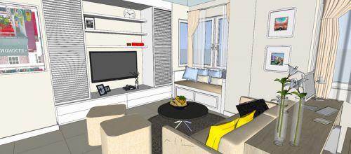 混搭风格一居室客厅隔断装修效果图欣赏