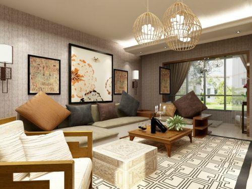 混搭风格三居室客厅背景墙装修效果图