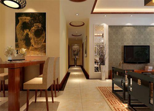 混搭风格四居室客厅背景墙装修效果图