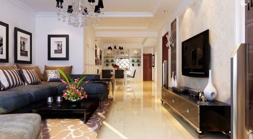 混搭风格三居室客厅影视墙装修效果图大全