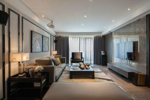 混搭风格四居室客厅影视墙装修效果图大全