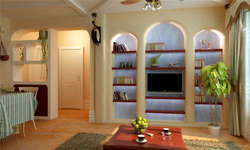 混搭风格二居室客厅影视墙装修图片