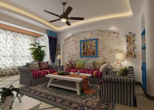 混搭风格三居室客厅茶几装修效果图大全