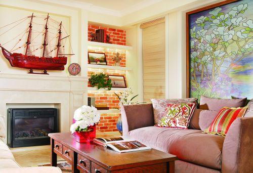 混搭风格四居室客厅壁纸装修图片
