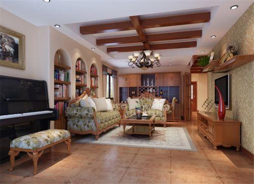 混搭风格三居室客厅吊顶装修效果图欣赏
