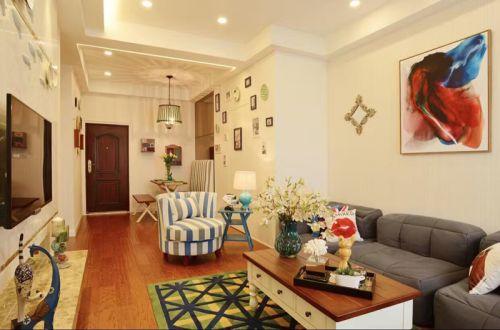 混搭风格一居室客厅吊顶装修效果图