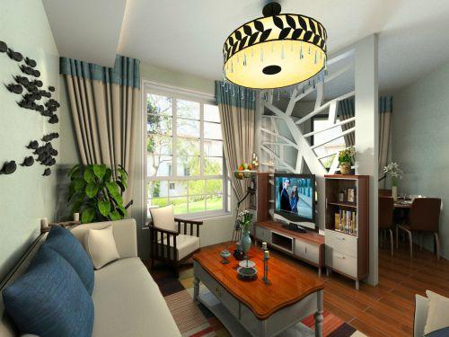 混搭风格一居室客厅隔断装修图片
