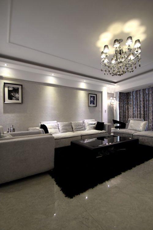 混搭风格三居室客厅窗帘装修图片