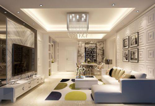 混搭风格二居室客厅吊顶装修图片