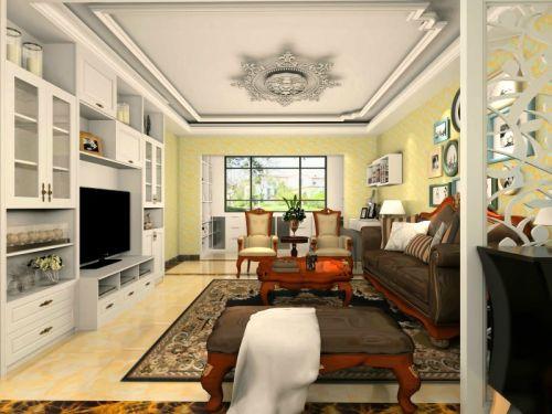 混搭风格三居室客厅灯具装修图片