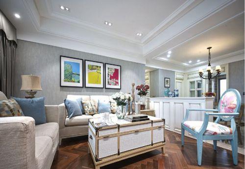混搭风格三居室客厅壁纸装修效果图欣赏