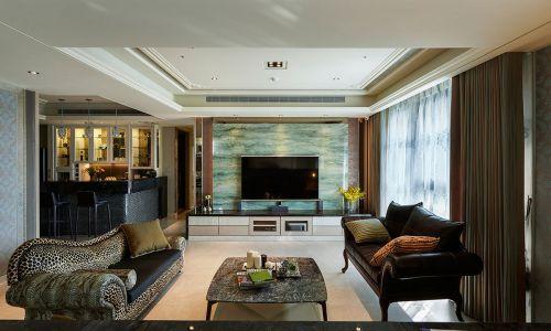 混搭风格三居室客厅影视墙装修效果图欣赏