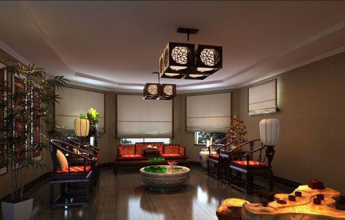 混搭风格别墅客厅吊顶装修效果图