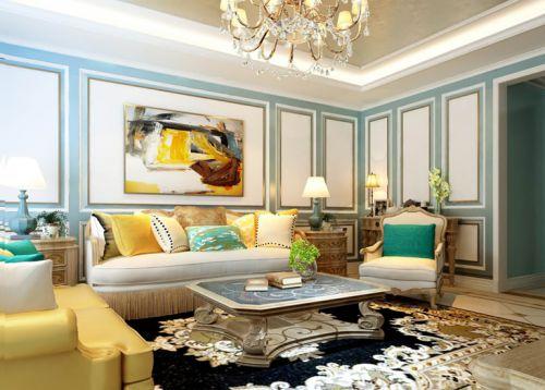 混搭风格三居室客厅沙发装修图片