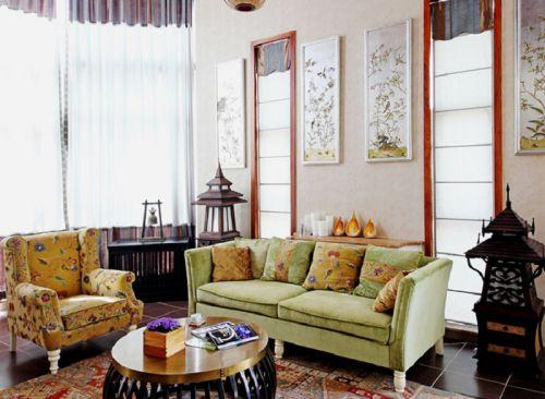 混搭风格别墅客厅飘窗装修图片