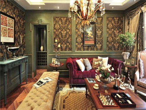 混搭风格四居室客厅照片墙装修图片