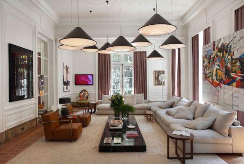 创意混搭风格客厅时尚灯具装修图片