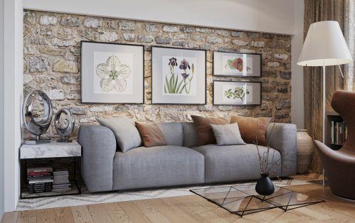 自然混搭风格客厅原始质朴背景墙效果图