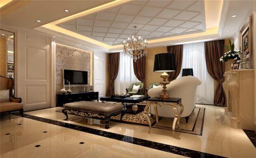 美式风格客厅电视背景墙咖啡色壁纸装修图片