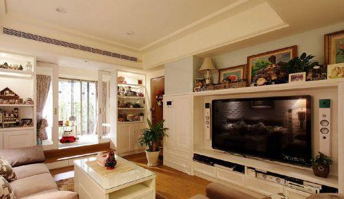 白色童趣美式田园客厅背景墙装修效果图