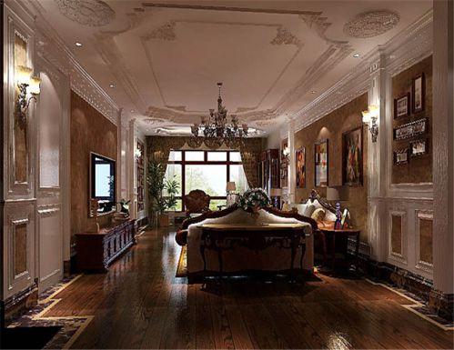 美式风格三居室客厅背景墙装修效果图