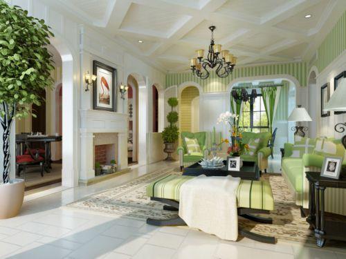 美式乡村风格三居室客厅装修效果图