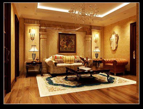 美式风格五居室客厅装修效果图