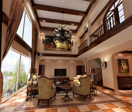 美式田园别墅客厅吊顶装修效果图大全
