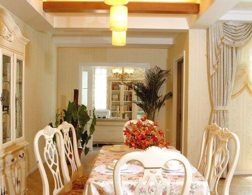 美式乡村 三居室客厅吊顶装修效果图