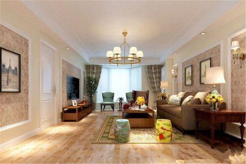美式风三居室客厅隔断装修效果图欣赏