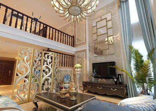 美式五居室客厅灯具装修图片